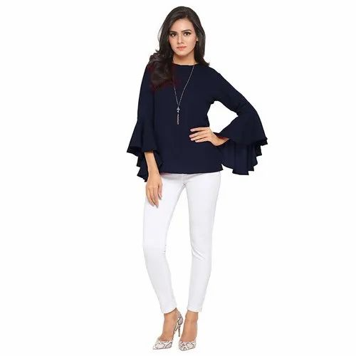 78a6a854da American Crepe Round Neck Ladies Ruffle Plain Top, Rs 399 /piece ...