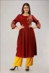 Round Neck Maroon Hand Embroidered Rayon Long Kurti