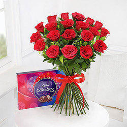 Cadbury Red Roses With Celebrations Box