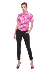 Pink Half Sleeve Kos Theta Ladies Cotton Formal Shirts