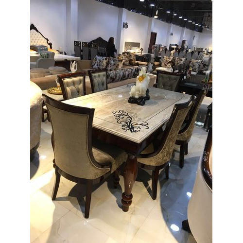Stylish Velvet Wooden Chair Dining Table Set