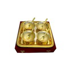 Tone Round Shape 4 Bowl & Tray With 4 Spoons