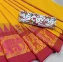 Village Vibes Ochre Chettinad Saree with printed Kalamkari blouse