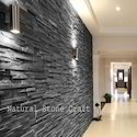 Stone Black Slate Wall Cladding Tiles, Thickness: 10-15 Mm