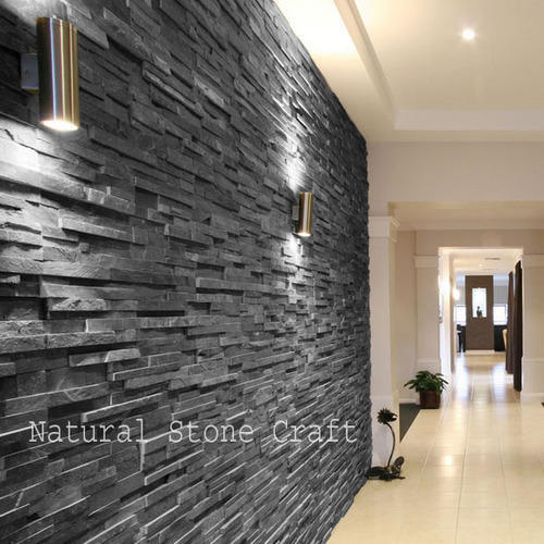 Stone Black Slate Wall Cladding Tiles Thickness 10 15 Mm