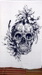 Twin Dead Skull and Roses Wall Decor Tapestry