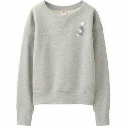 Full Sleeve Round Neck Ladies Trendy Grey Fleece Sweatshirt