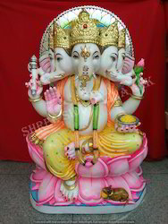 Multicolor Jaipur Marble Lotus Ganesha Ji Statue, Packaging Type: Wooden Boxes, Size/Dimension: 12 X 8 X 5