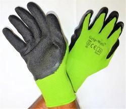 Green Nylon Shell With Black Crinkle Latex Palm Coated Gloves
