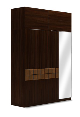 Wooden Rectangle Double Wardrobe with Over Head Squaro Series