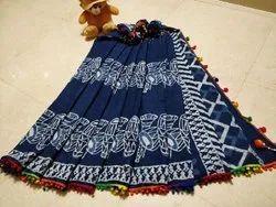 Chanderi Cotton Pom Pom Saree