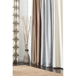 Satin 5-6 Feet Plain Eyelet Curtain