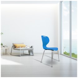 Blue Plastic Seat & SS Legs Apple Cafeteria Chair, Model Name/Number: Dc 07