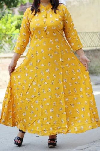 Yellow Rayon Maxi Dress