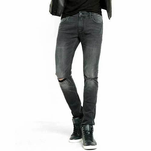 07ba4afd83b94 Black Mens Knee Ripped Slim Fit Jeans