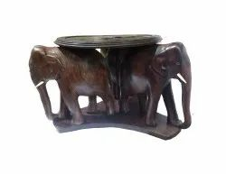 Elephant Table -Three Elephants Supporting Table-Rose Wood for Home, Size: 4 Inch