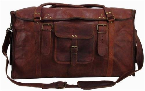 d8a3a03f2c Brown 3 Pocket Flap Square Leather Duffel Bag