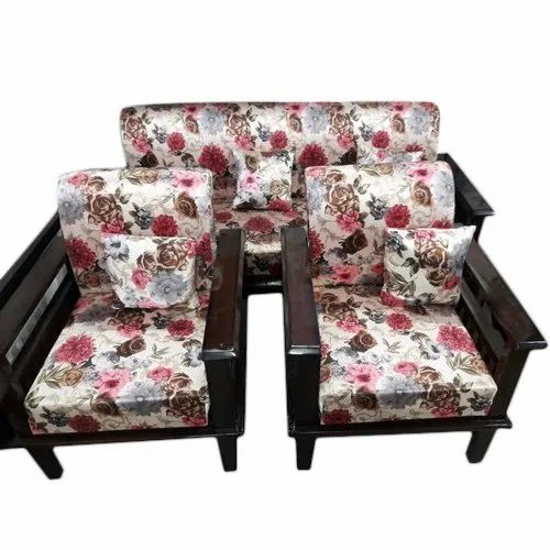 Peachy 5 Seater Floral Print Wooden Sofa Set Gmtry Best Dining Table And Chair Ideas Images Gmtryco