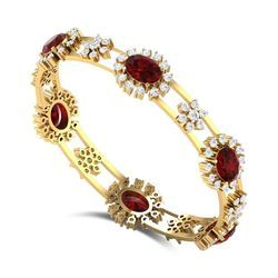 Pressure Setted Diamonds And Marquise Ruby Bangle
