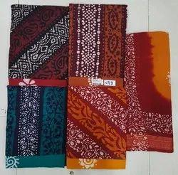 Cotton Unstitched batic print suit, Handwash