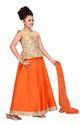 Jute Orange Kids Partywear Lehenga Choli Set