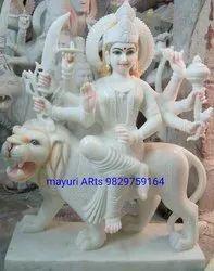 1 Feet White Marble Durga Statue