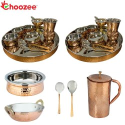 Choozee - Stainless Steel Copper Thali Set with Serveware & Hammered Pitcher Jug and Matka Glass