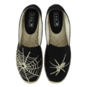 Women Black Spider Canvas Shoes, Size: 36-41