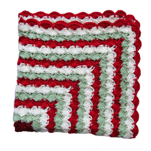 Crochet Gulnaaz Red Green Cream Tricolour V Shell Stitch Baby