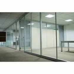 Silver Aluminium Glass Office Partition