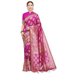 Exclusive Pink Weaving Banarasi Silk Saree with Blouse Piece