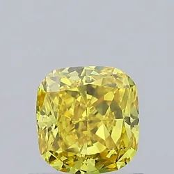 Yellow Cushion Cut Diamond  0.62ct VS2 Lab Grown Fancy Color IGI Certifed Stones
