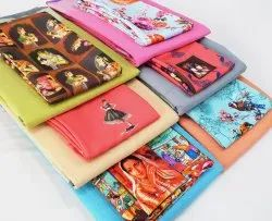 Multicolor Printed Summer special Cotton Sarees with digital blouse, With blouse piece