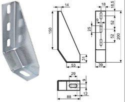 Dexterous Mild Steel Floor Bracket, Zin Plated, Aluminium Profile