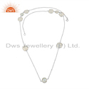 Fine Silver Rainbow Moonstone Gemstone Necklace