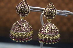 Black Oxidized Traditional Golden Jhumka