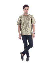 Men's Dark Golden Silk Shirt