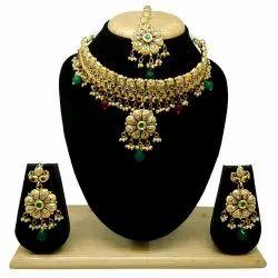 Golden Antique AD Necklace Set, Box, Occasion: Wedding