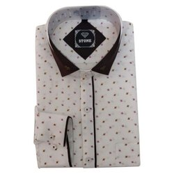 Stone Mens Party Wear Printed Cotton Shirt