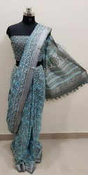 new printed linen saree