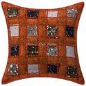 Embroidered Patchwork Cotton Ethnic 16X16 Cushion Cover