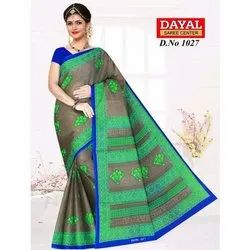 Printed Cotton Saree, Length: 5.5 m with Blouse Piece