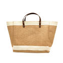 Leather Natural Jute Market Bag, For Shopping, Capacity: 7