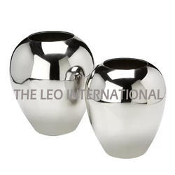 Aluminium Metal Flower Vase Silver Polished
