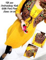 Ladies Kurti With Floral Embroidered Jacket