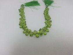 Natural Green Peridot Faceted Pear Briolette Beads