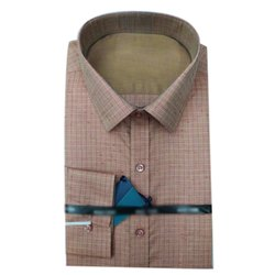 Collar Neck Men Cotton Check Shirt, Machine Wash,Hand Wash