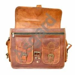 Asgard Accessories Solid Vintage Style Goat Leather Bag, Laptop Handmade Leather Bag, Size: 12*16 Inches