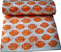 Hand Block Printed Cotton Fabric Indian Fabric Sanganeri Print