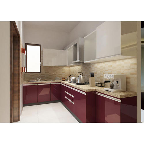 Contemporary L Shaped Kitchen Designs: Modern L Shape PVC Modular Kitchen, Rs 175000 /unit